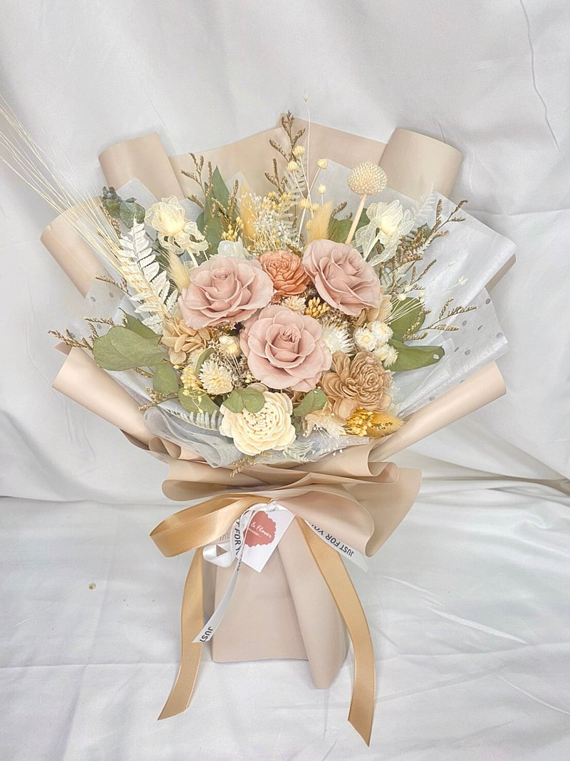 FengFlower[Milk Tea Color Without Withering Roses Bouquet] Graduation Bouquet/Valentine's Day Bouquet/Birthday Bouquet