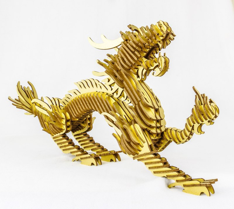 Oriental Dragon (Gold) DIY Paper Town Environmentally Friendly Paper
