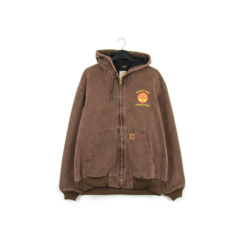 Back to Green :: Carhartt Washed Brown Hoodie // vintage