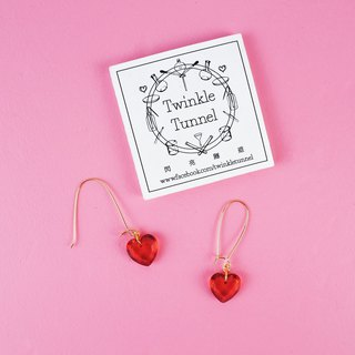 Mini transparent red heart hanging earrings