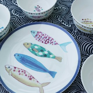 Colored fish dishes 5 into the group can be customized / birthday gift / hand-painted / Japanese