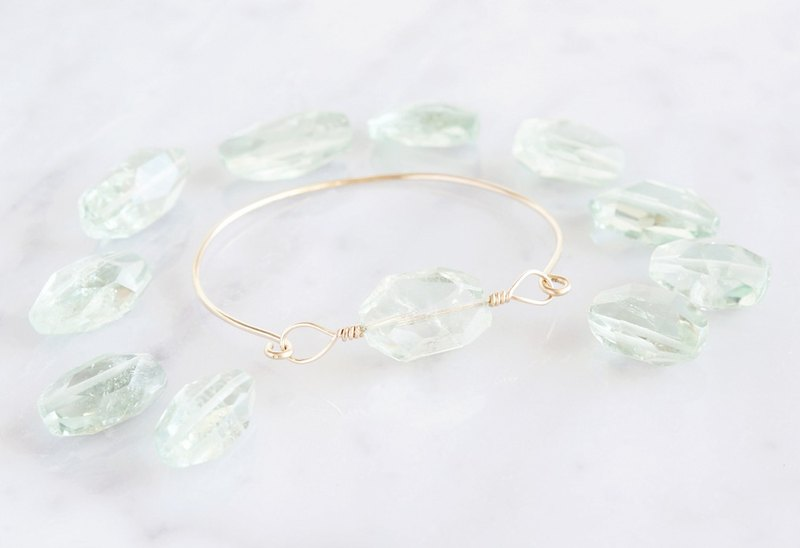 【14KGF】 Wire Bangle, Gemstone AAA Green Amethyst