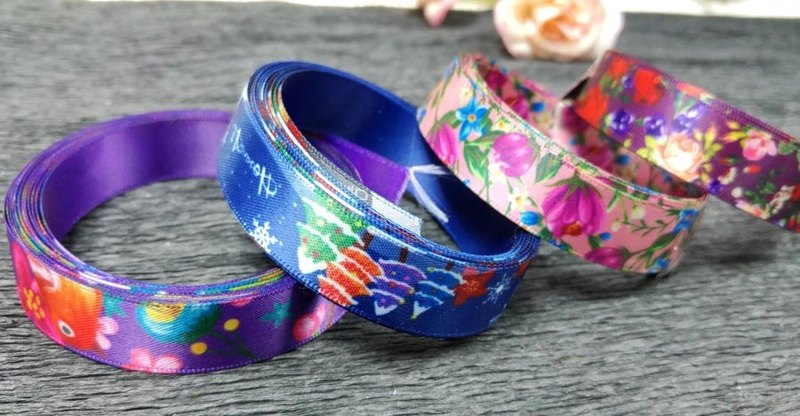HosannArt Ribbons Bundle, 3 metre of 4 ribbons (16mm width)
