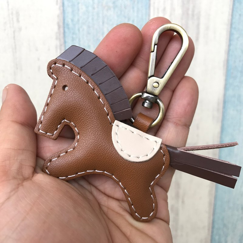Healing small things brown cute pony hand-stitched leather keychain small size