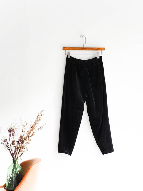 River water - Fukuoka dark suede warm winter antique gold velvet AB narrow trousers elastic trousers pants vintage