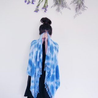 : Blue Star: Scarf Fringe Shawl Hand Dyeing Birthday Gift Valentine's Day Mother's Day