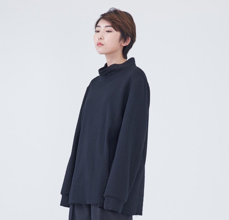 TRAN - Vertical collar patchwork sweater
