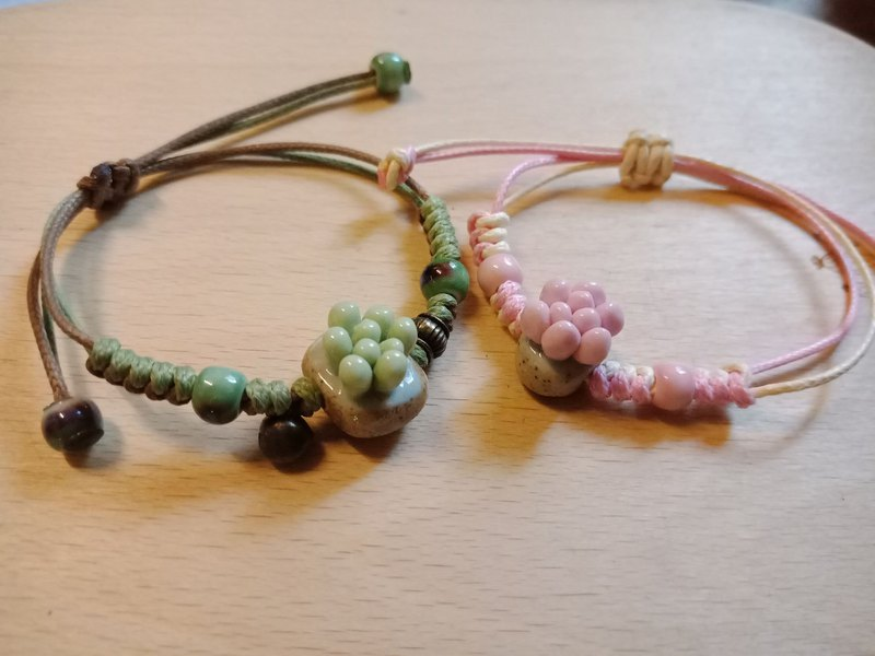 【Succulents. Duofu] Handmade Ceramic Meaty Braided Bracelet - Green Dove / Peach Blossom
