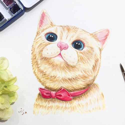Custom watercolor animal pets portrait