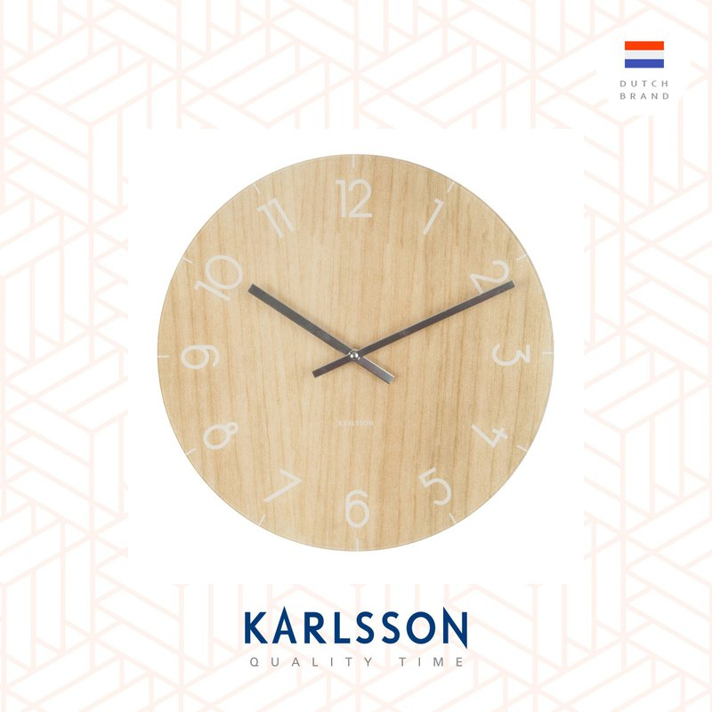 Karlsson, 仿淺木紋玻璃掛鐘 Wall clock Glass Light wood