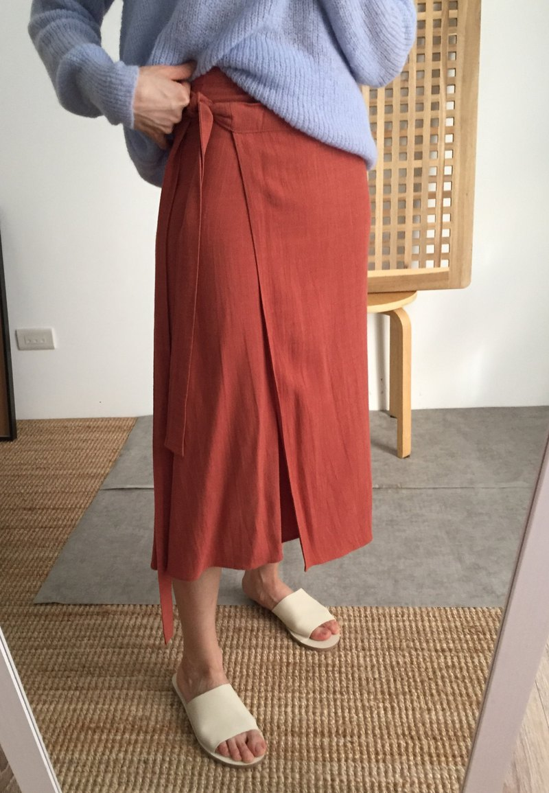 Summer cotton and linen one-piece wrap skirt NG brick red S
