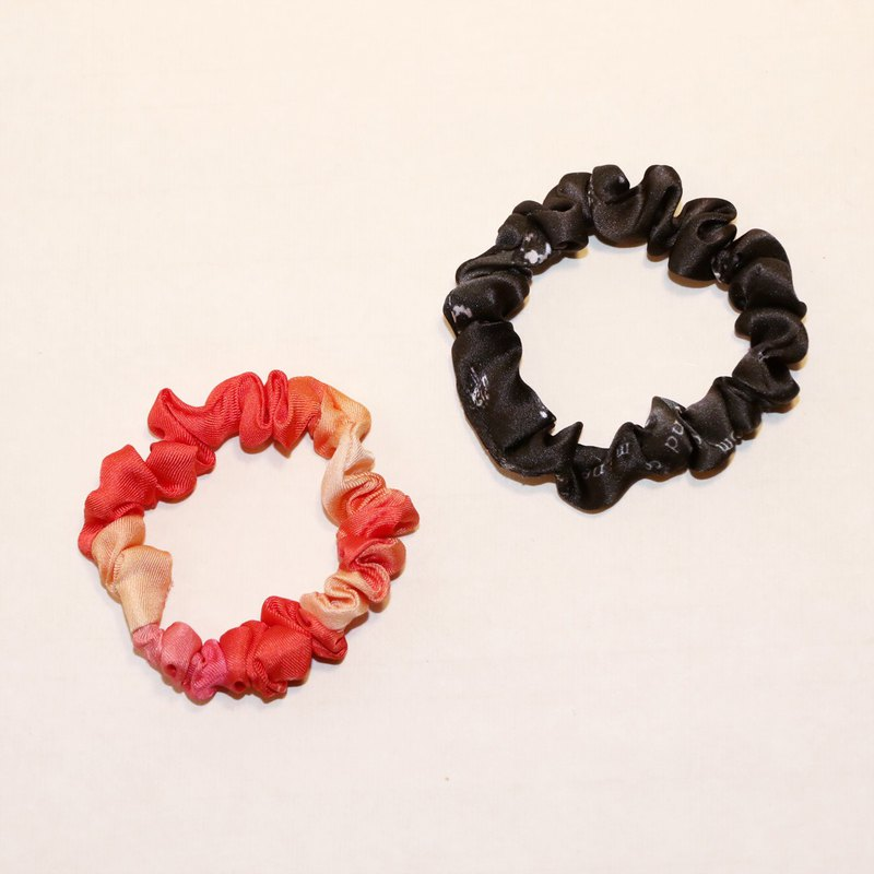 Zhu color + black printed pure silk elastic fashion hair ring paired group