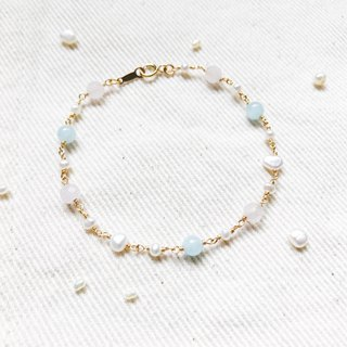 :: Small Pit:: Pink Baby Natural Stone Pearl 14K Gold Bracelet
