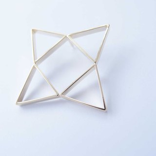 Geometric landscape 3 metal brooch