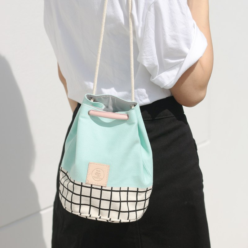 Mini Bucket Bag canvas fabric small size mint colour and grid pattern