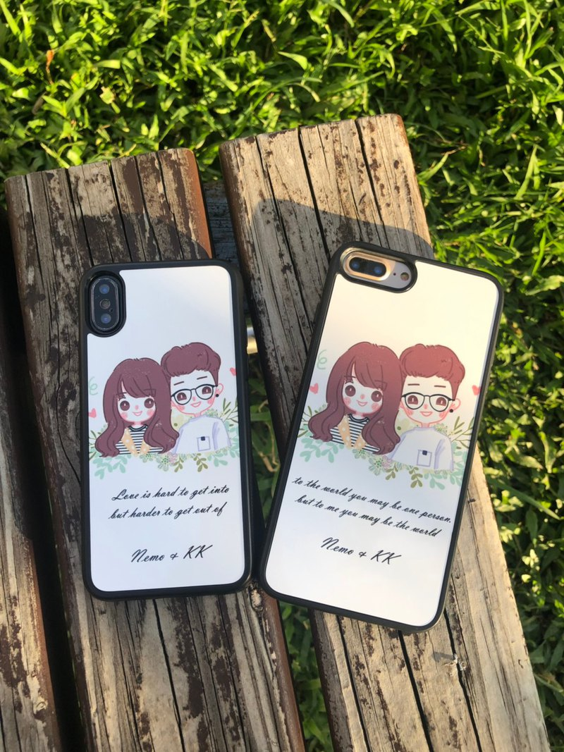 Customized Q version mobile phone case [Small fresh] Pink area painter like Yanhui hand-painted portrait gift