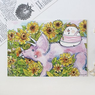 Bear's Postcard - Triceratops Sunflower Field