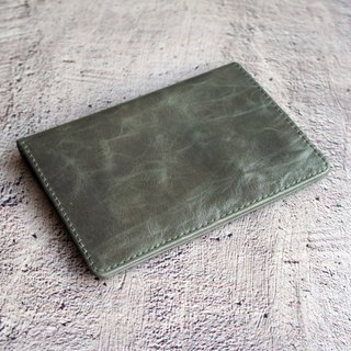 Lake Green Antique Wax - Leather Phone Passport Wallet Passport Passport Cover