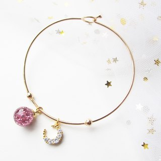 Rosy Garden light pink glitter with water inside glass ball bangle