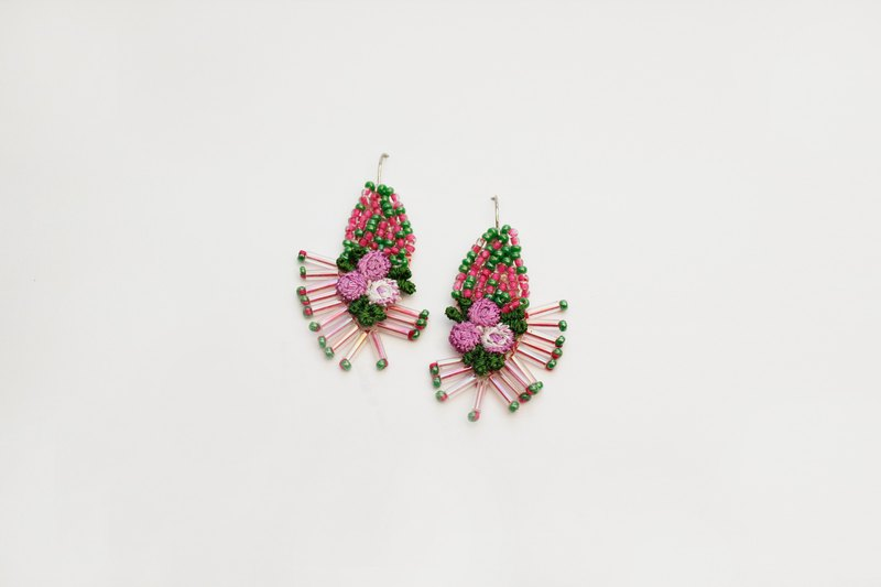 Embroidered beaded earrings