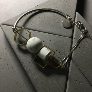Marble Concrete x Brass Collection - Sterling silver bracelet (MCB-104)