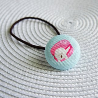 Lovely [Japanese cloth] Bichon Bichon Frise hair tie, pink blue background