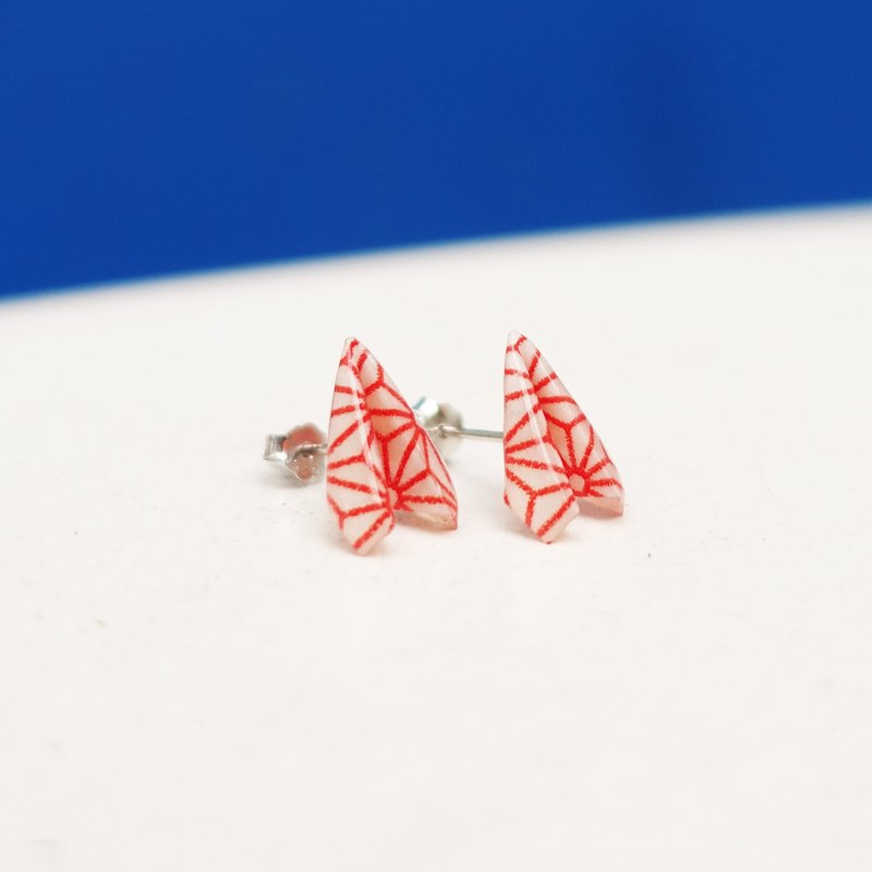 Origami Paper Aeroplane Stud Earrings