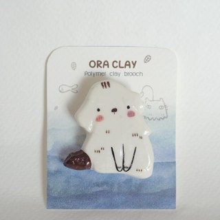 Dog polymer clay brooch