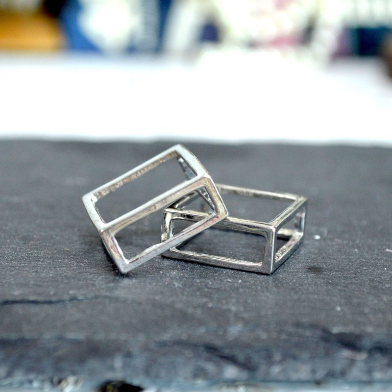 Silver plated brass material cutout three-dimensional square ring available in two sizes