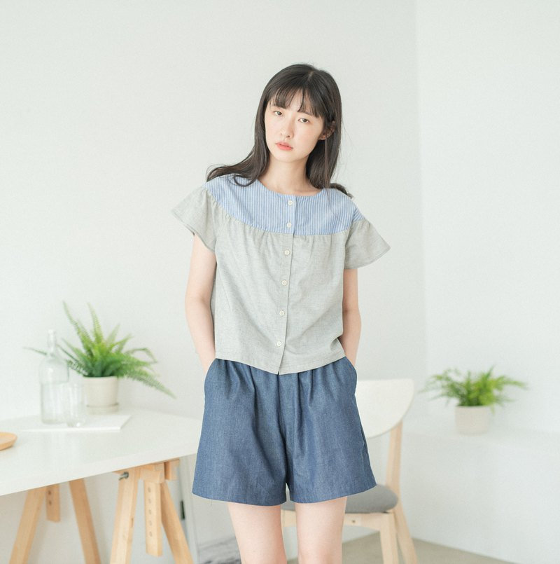 Gray and blue butterfly tops - summer dress, refreshing, cool, Japanese, simple