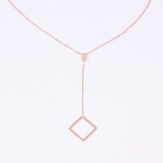 Van Gogh's picture frame │ simple rose gold square pendant │ necklace