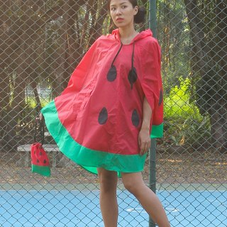 Red Watermelon Rain Poncho,with watermelon bag