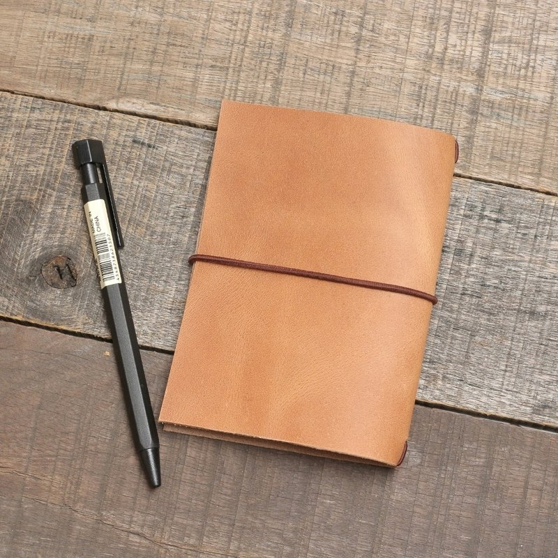 Minimal retro cow leather handmade travel notebook B7 / limited edition 1