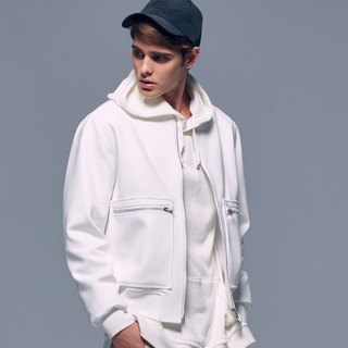 Stone'As Zip MA-1 Jacket In White / space fabric MA-1 Jacket White
