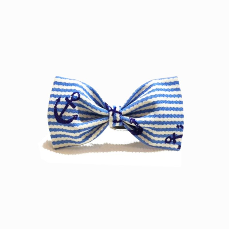 Ella Wang Design Bowtie Pet Bow Tie Bow Cat Dog Blue and White Stripes