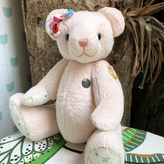 Handmade teddy bear apricot velvet 34cm spot only one left
