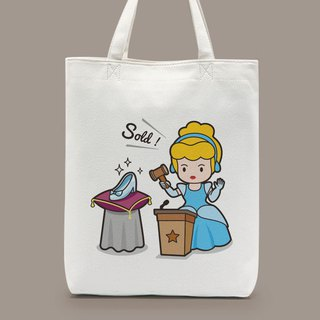 Cinderella's glass shoes shoulder carrying canvas bag