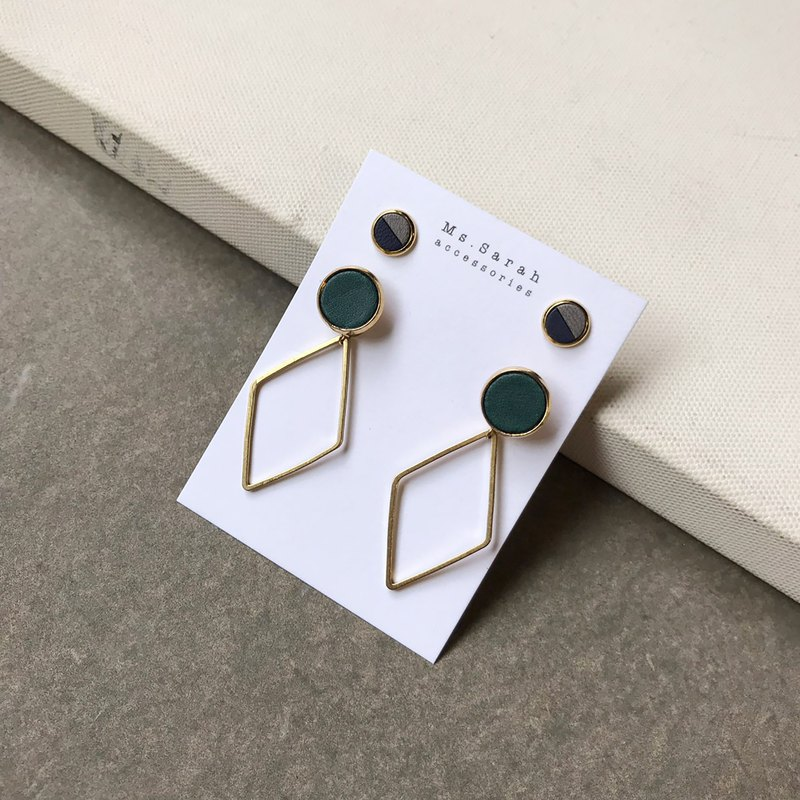 Leather round frame set_brass geometric rhombus_pine green (can be changed)