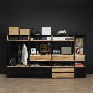 Creesor - Shido 40 Industrial Style Cabinet Bookcase Storage Cabinets Drawers