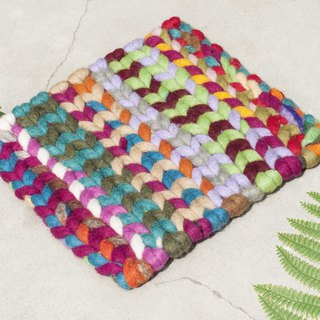 Chinese Valentine's Day Gift Ethnic Wind Forest Felt Pot Pot Rainbow Placemat Potholder - Gradient Stripe Weaving