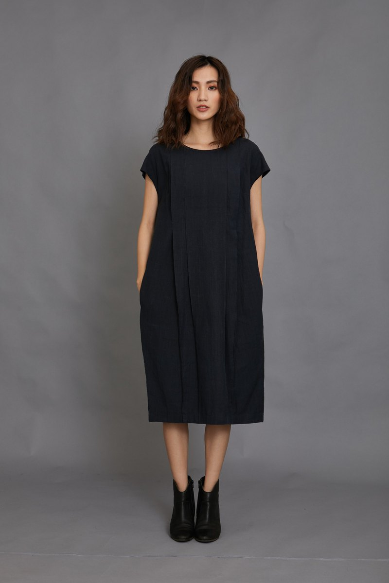 pleat dress-dark blue-fair trade