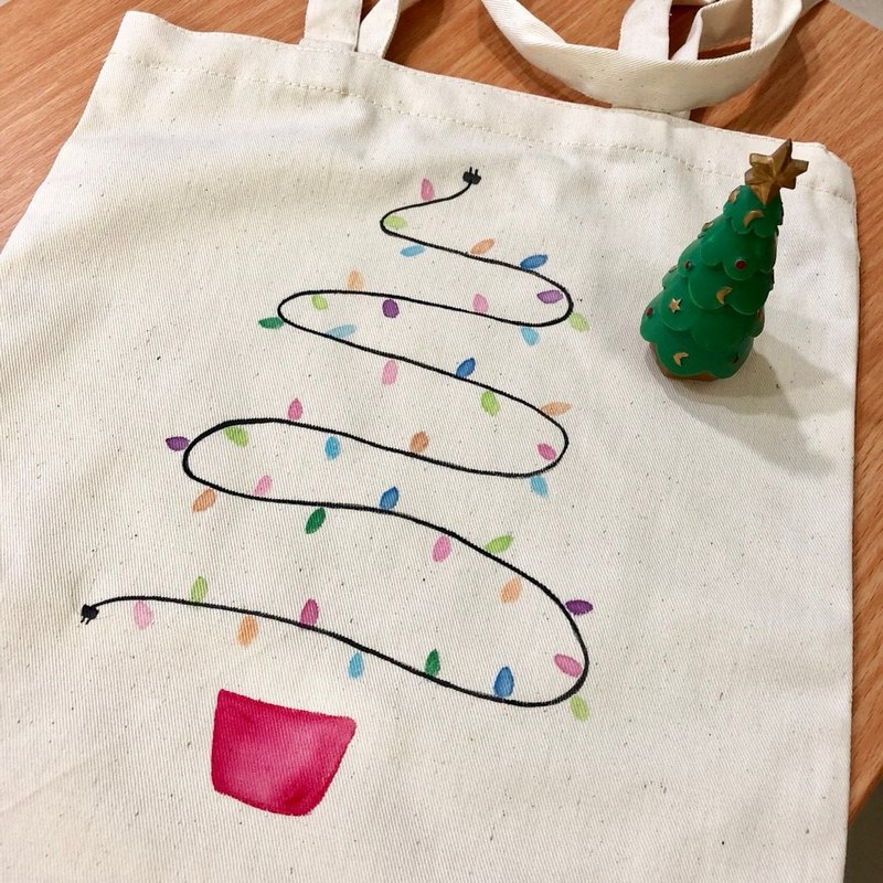 Hand-drawn bag(Color Christmas tree)