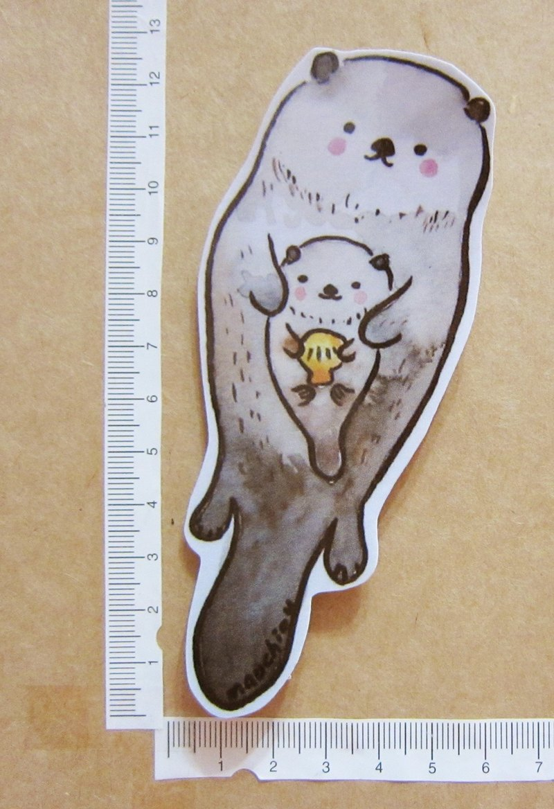 Hand-drawn illustration style completely waterproof sticker hug otter sea animal paternity