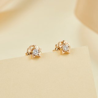 【PurpleMay Jewellery】18k Rose Gold Binary Star Diamond Stud Earring E009