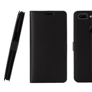 CASE SHOP OPPO R15 Special Side Leather Case - Black (4716779659818)