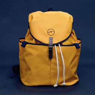 | Spanish Handmade | Ölend Ringo Waterproof Nylon | Drawstring Backpack / Computer Bag (Mustard Mustard Yellow)
