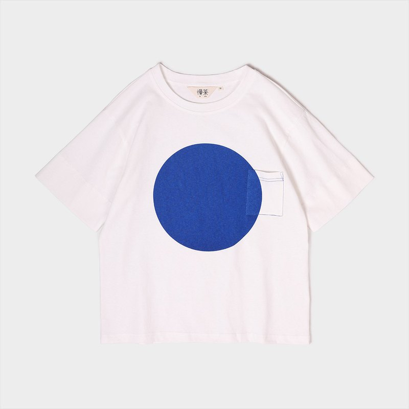 Cotton knitted wide dot print pocket T-shirt