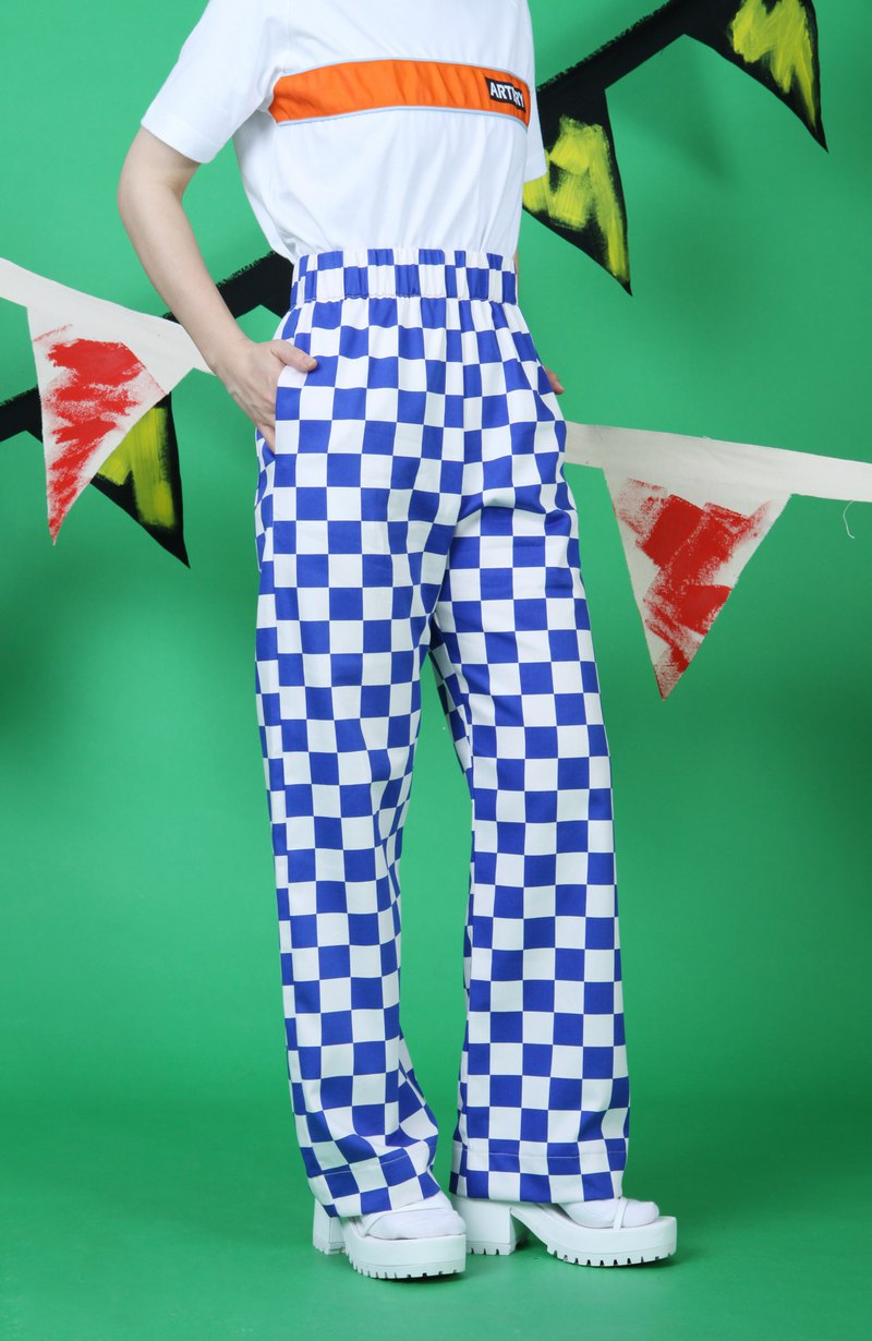 ARTERY PLAID PANTS Checkerboard Pants - Blue and White