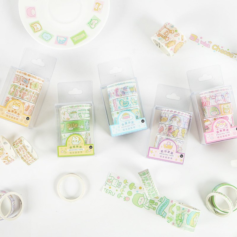 InfeelMe Japanese non-marking hand shredded and paper tape combination tape [Electronic girl series]