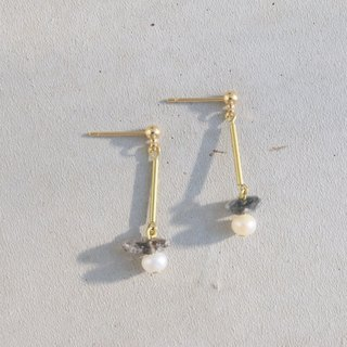 Black crystal pearl brass earrings 1076 Relax